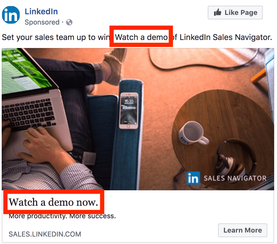 facebook ad cta example